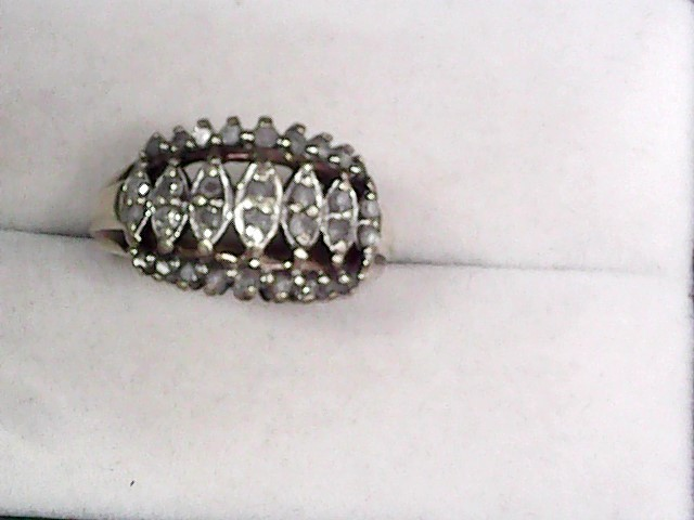 Lady's Diamond Cluster Ring 32 Diamonds .46 Carat T.W. 10K Yellow Gold 3.7dwt