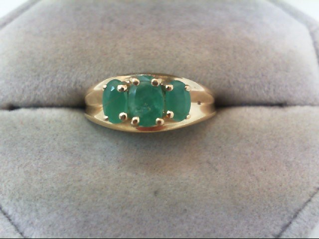 Emerald Lady's Stone Ring 14K Yellow Gold 3.3g