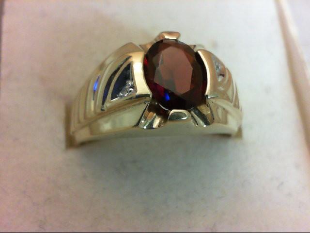 Almandite Garnet Gent's Stone & Diamond Ring 2 Diamonds 0.02 Carat T.W. 10K Yell