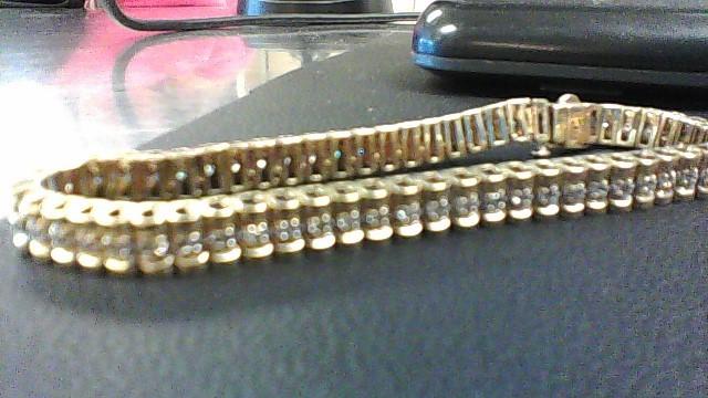 Gold-Diamond Bracelet 50 Diamonds 1.50 Carat T.W. 10K Yellow Gold 12.1g