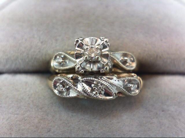 Lady's Diamond Wedding Set 6 Diamonds .13 Carat T.W. 14K 2 Tone Gold 4.3g