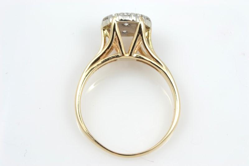 ESTATE DIAMOND CLUSTER ENGAGEMENT RING SOLID 14K GOLD FLOWER SZ 7.25
