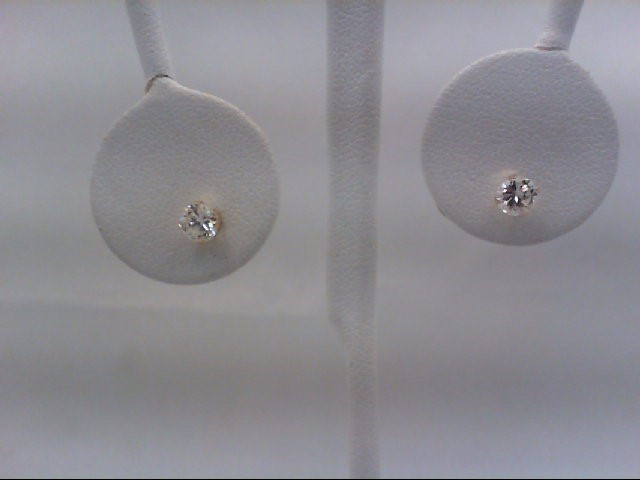 Gold-Diamond Earrings 2 Diamonds 0.64 Carat T.W. 14K Yellow Gold 0.4g