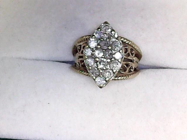 Lady's Diamond Fashion Ring 15 Diamonds 1.05 Carat T.W. 10K Yellow Gold 3.15dwt