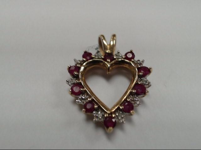 Ruby Gold-Diamond & Stone Pendant 6 Diamonds .06 Carat T.W. 10K Yellow Gold