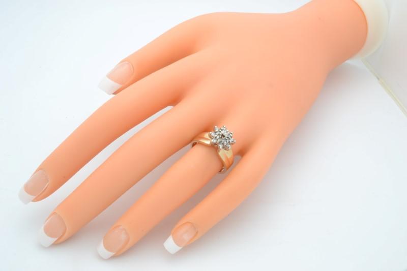 ESTATE DIAMOND RING SOLID 14K GOLD ENGAGEMENT CLUSTER FLOWER SIZE 7
