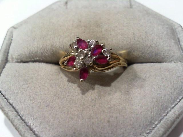 Ruby Lady's Stone & Diamond Ring 10 Diamonds .30 Carat T.W. 14K Yellow Gold 4g