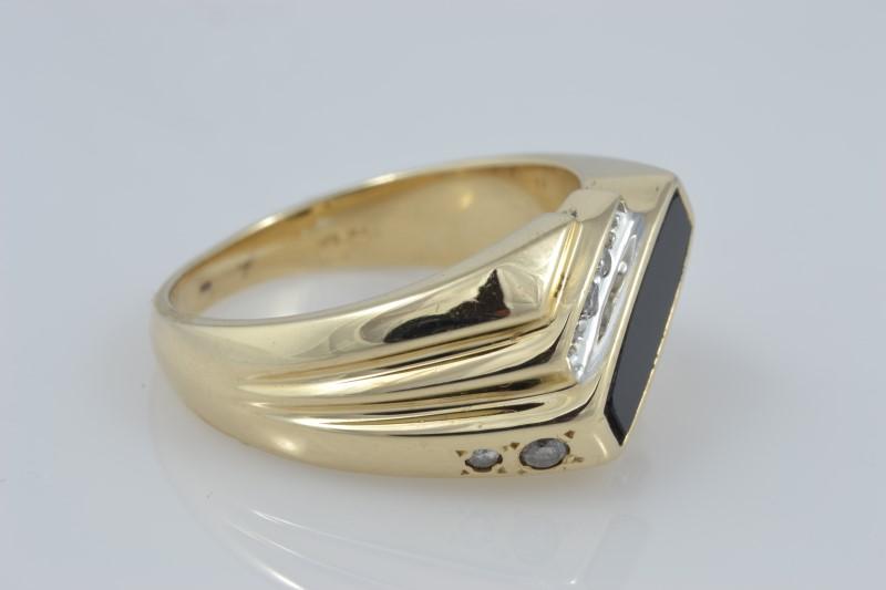 ONYX & DIAMOND STATEMENT RING BAND REAL 10K GOLD 10.5g MEN SIZE 9.75