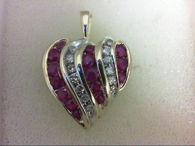 Ruby Gold-Diamond & Stone Pendant 13 Diamonds 0.39 Carat T.W. 10K Yellow Gold 2.