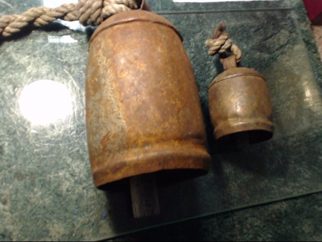 ANTIQUE METAL COWBELL 1 LARGE AND  1 SMALL.