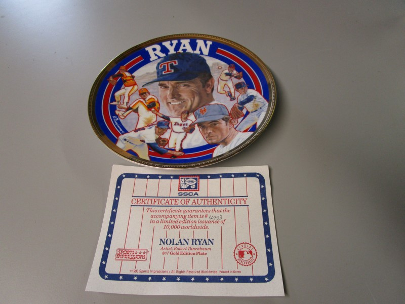 "NOLAN RYAN COMMEMORATIVE PLATE, ""FAREWELL"" BY ARTIST ROBERT TANENBAUM, #4773"