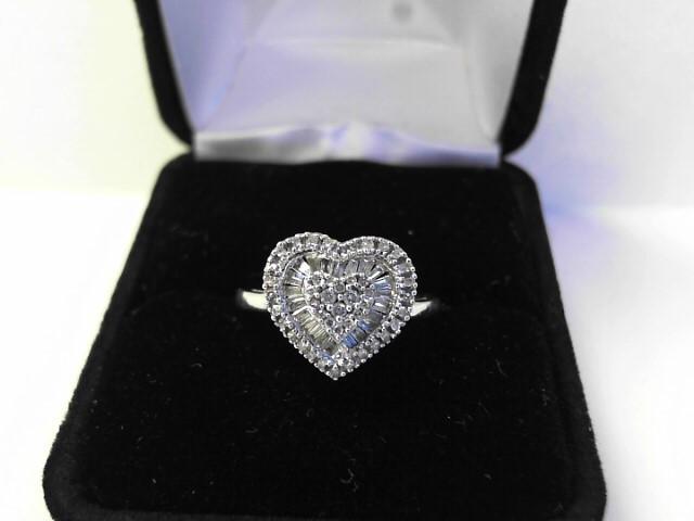 Lady's Diamond Fashion Ring 69 Diamonds .69 Carat T.W. 14K White Gold 2dwt