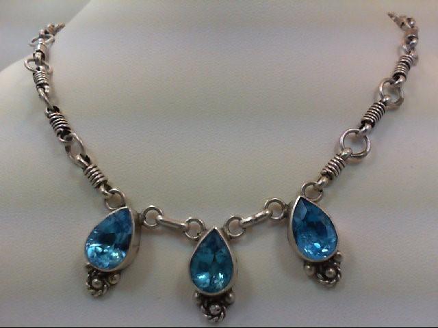 Blue Topaz Stone Necklace 925 Silver 27.3g
