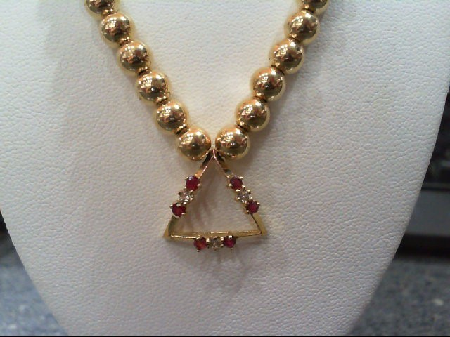Ruby Gold-Diamond & Stone Pendant 3 Diamonds .09 Carat T.W. 14K Yellow Gold