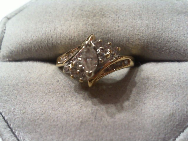 Lady's Diamond Engagement Ring 17 Diamonds .52 Carat T.W. 14K Yellow Gold 3.6g
