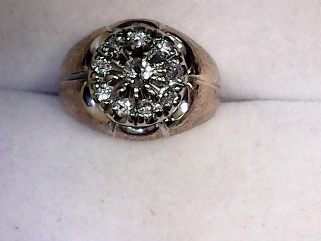 Gent's Diamond Cluster Ring 11 Diamonds .40 Carat T.W. 10K Yellow Gold 4.5dwt
