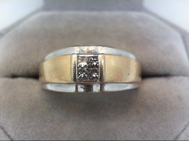 Gent's Gold-Diamond Wedding Band 4 Diamonds .22 Carat T.W. 14K 2 Tone Gold