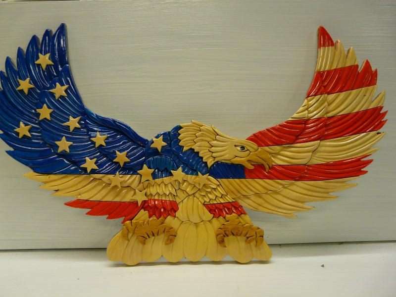 SIGN, WOOD EAGLE WITH STAR'S AND STRIPS