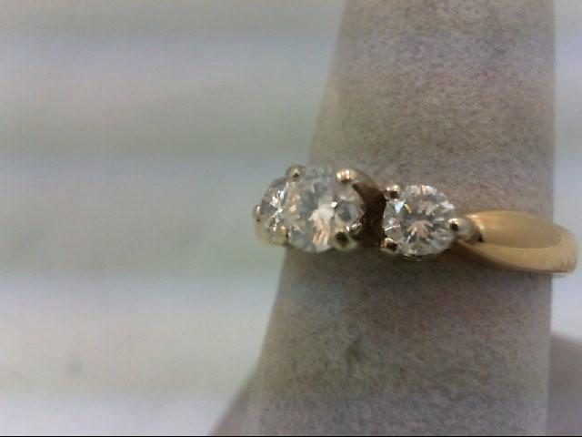 Lady's Gold-Diamond Anniversary Ring 3 Diamonds .68 Carat T.W. 14K Yellow Gold