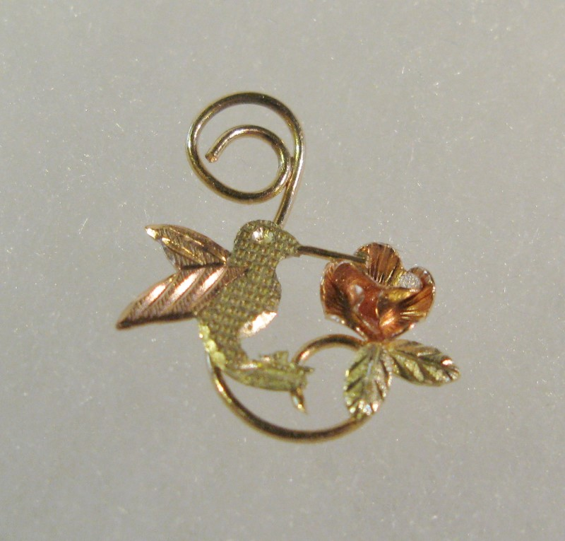 Black Hills Gold Hummingbird & Rose Pendant 10K Tri-color Gold 0.32dwt