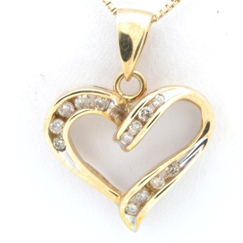ESTATE DIAMOND HEART PENDANT CHARM SOLID 10K GOLD LOVE VALENTINE DAY