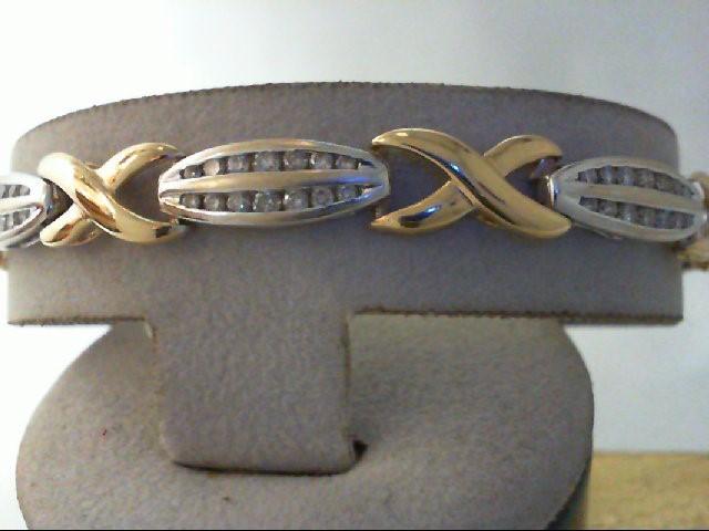 Gold-Diamond Bracelet 98 Diamonds 2.94 Carat T.W. 14K 2 Tone Gold 13.6g
