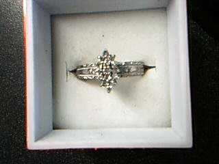Lady's Diamond Engagement Ring 19 Diamonds .19 Carat T.W. 10K White Gold 2.6g