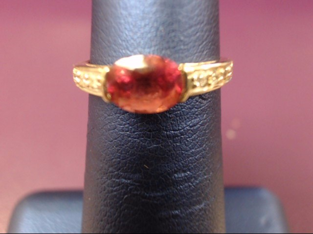 Pink Stone Lady's Stone & Diamond Ring 8 Diamonds .08 Carat T.W.