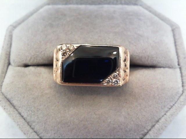 Gent's Diamond Fashion Ring 6 Diamonds 0.12 Carat T.W. 14K Yellow Gold 6g