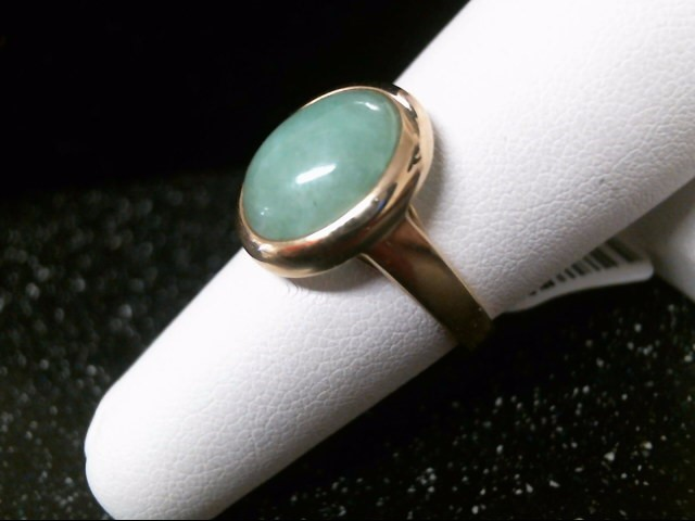 Synthetic Jade Lady's Stone Ring 14K Yellow Gold 3.7g Size:7