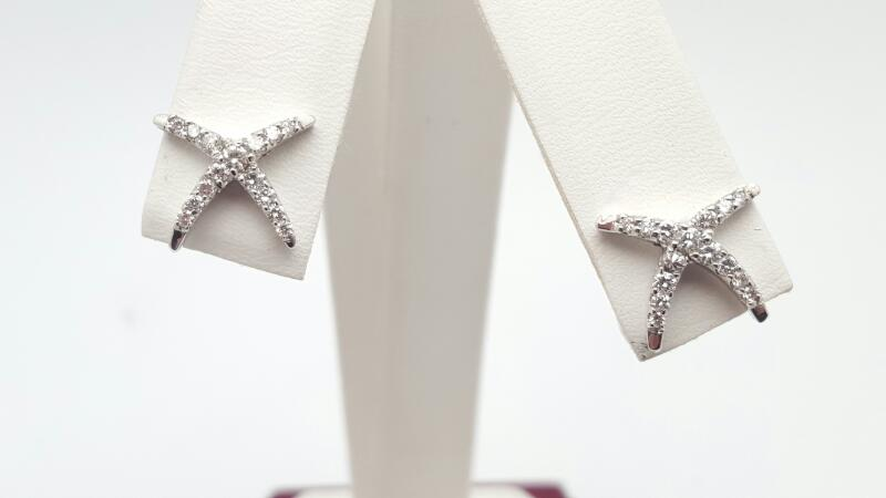 Gold-Diamond Earrings 40 Diamonds .40 Carat T.W. 14K White Gold 2.1g