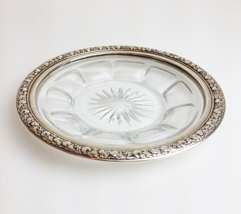 "6"" Sterling Silver Crystal Dish Vintage 70's Circa"