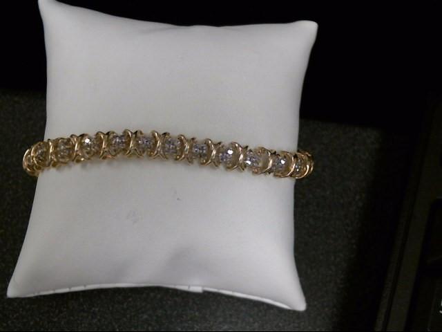 Gold-Diamond Bracelet 120 Diamonds 1.20 Carat T.W. 10K Yellow Gold 12.3g