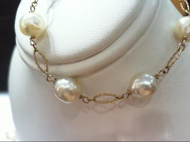 Pearl Gold-Stone Bracelet 14K Yellow Gold 6.2g