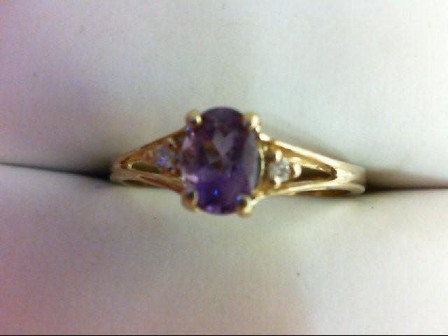 Amethyst Lady's Stone & Diamond Ring 2 Diamonds 0.02 Carat T.W. 10K Yellow Gold
