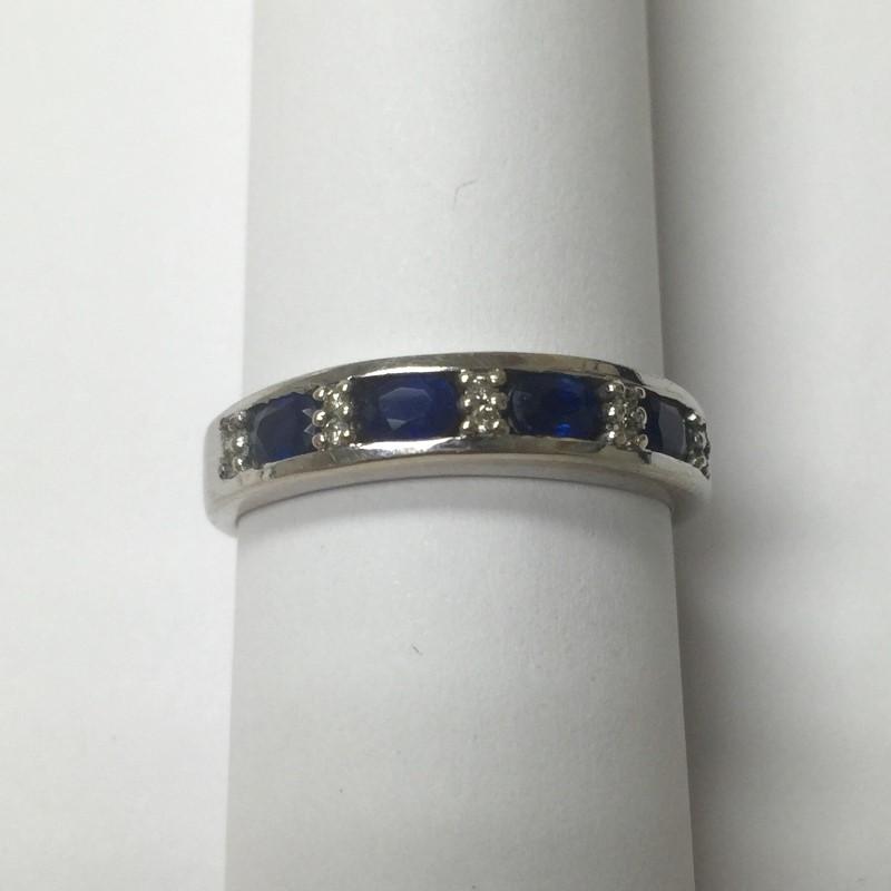 Synthetic Sapphire Lady's Stone & Diamond Ring 10 Diamonds .10 Carat T.W.