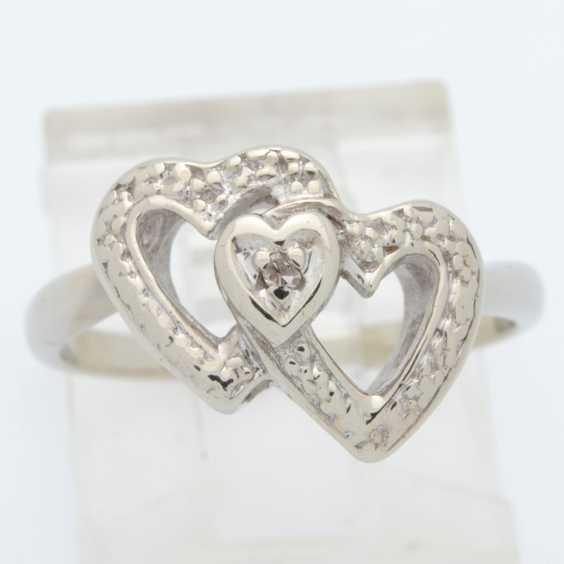 ESTATE DIAMOND TWIN HEART RING SOLID 14K WHITE GOLD 2 DOUBLE SZ 5.5