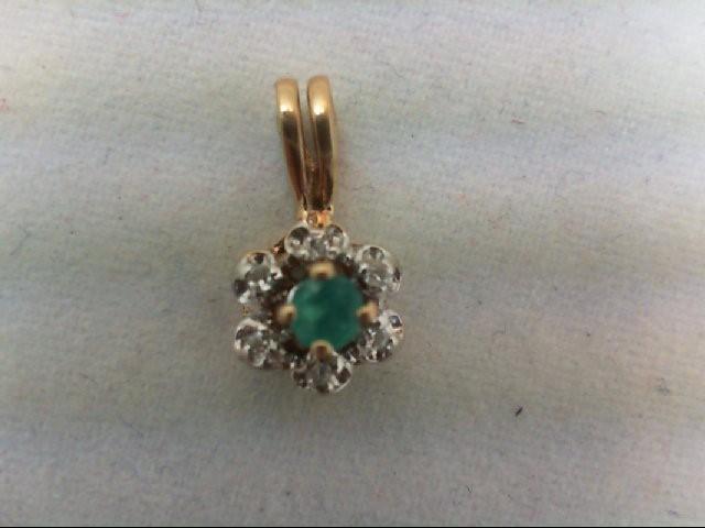 Emerald Gold-Stone Pendant 10K Yellow Gold 0.6g