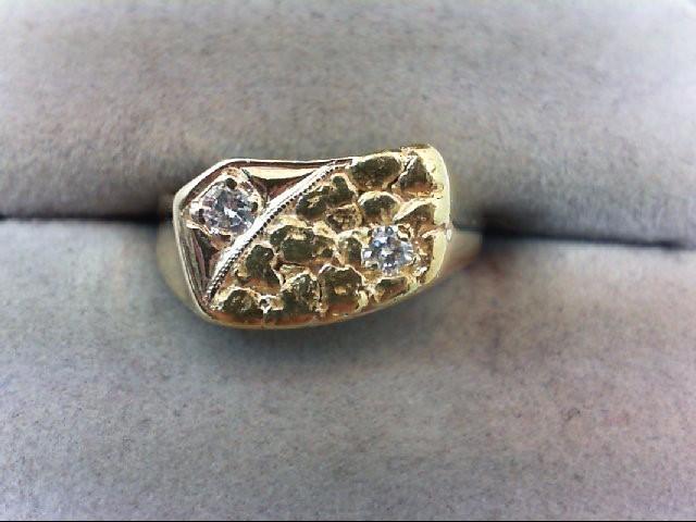 Lady's Diamond Fashion Ring 2 Diamonds .13 Carat T.W. 14K Yellow Gold 3.5g