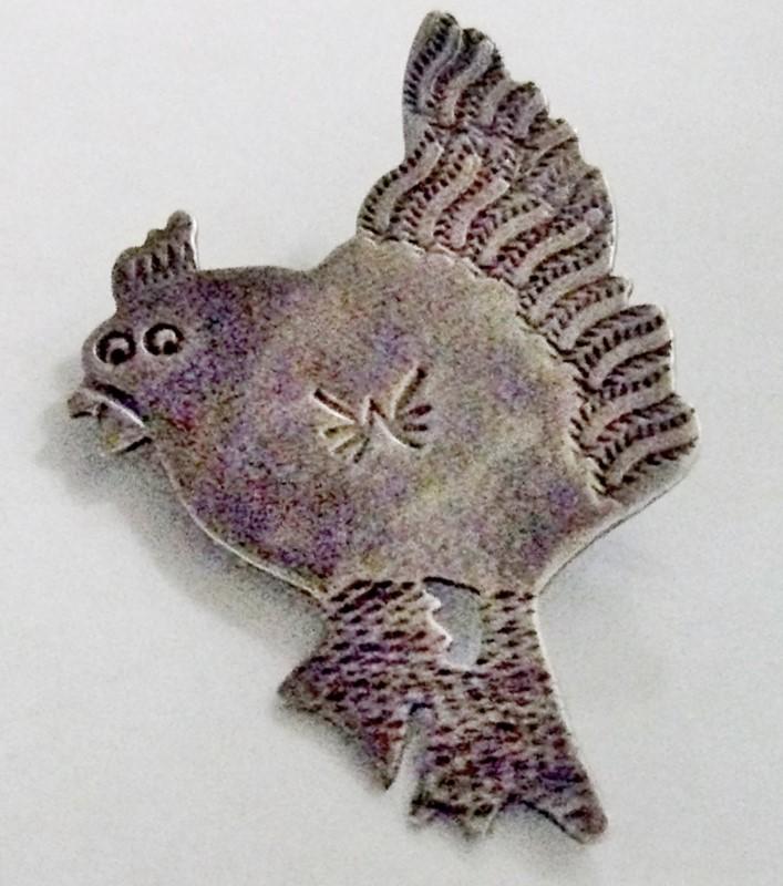 Silver Handmade Hen Chicken Brooch 925 Silver 3.5dwt