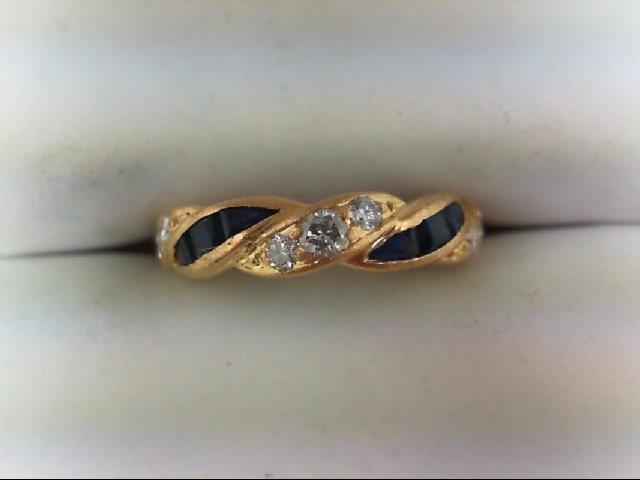 Lady's Stone & Diamond Ring 7 Diamonds 0.31 Carat T.W. 18K Yellow Gold 3g