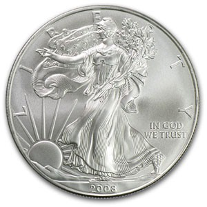 UNITED STATES Silver Coin 500 2008 SILVER EAGLE 1OZ COINS