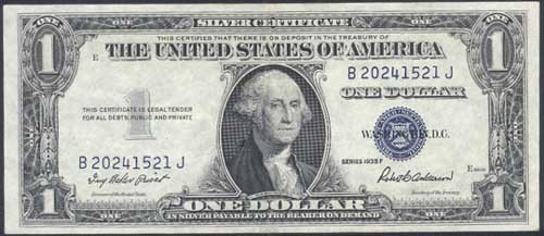 UNITED STATES Paper Money - World $1 SILVER CERTIFICATE