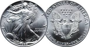 UNITED STATES Silver Coin 1988 1OZ SILVER EAGLE