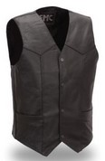 FMM601BM-5X, 4 SNAP LEATHER VEST, LINED, 2 INSIDE/2 OUTSIDE PKTS, SIZE 2X