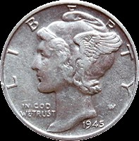 UNITED STATES Silver Coin 1945 MERCURY