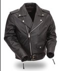 FIRST MFG FMM200BMP-RG TRADITIONAL BELTED M/CYCLE JACKET, QUILTED LINING - SMALL