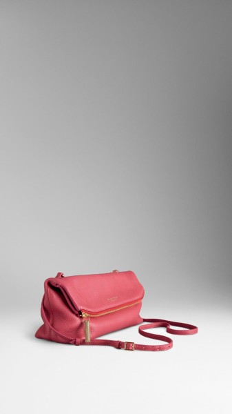 BURBERRY PINK MEDIUM DEERSKIN FOLDED CLUTCH