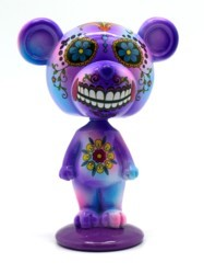 FANTASY GIFTS 2575 PURPLE DAY OF THE DEAD BEAR BOBBLEHEAD