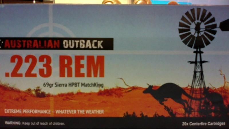 AUSTRALIAN OUTBACK Ammunition .223 REMINGTON 69GR SIERRA HPBT MATCHKING
